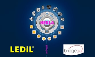 HEKLA - Innovative connecting element connects Bridgelux COB LEDs with optics from LEDiL