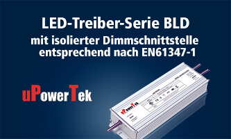 uPowerTek LED driver series BLD with isolated dimming interface according to EN61347-1