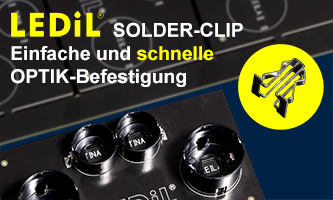 LEDil Solder-Clips for quick and easy lens mounting