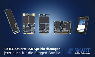 SMART Modular now also offers 3D TLC based SSD storage solutions for the Rugged 3D family