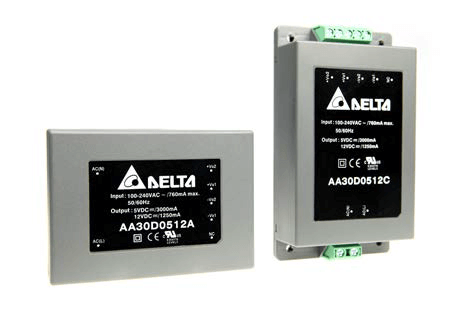 AA30D: - Encapsulated compact AC-DC power supply - Single-, Dual, and Triple Output Models - Over Load and Over Voltage Protection - 3 Mounting Package Versoin:   - Solder pins for direct PCB mount   - Screw terminal block for chassis mount   - DIN-Rail Mounting - Universal Input voltage range 85-264 VAC, 47-440 Hz - 3kVAC Isolatoin, Protection Class ll level - UL/UL/IEC/EN 60950-1 Certified , CE Marked - UL508 Approval (Selective) - Lead free, RoHs Compliant - 3 Year Product Warranty von Delta Electronics